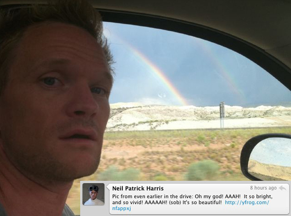 Neil Patrick Harris Sees A Double Rainbow