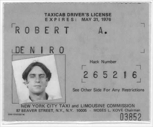 robert de niro nyc taxi cab driver license