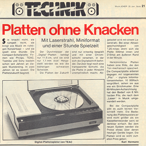 Platten ohne Knacken (CDs im Jahre 1979)
