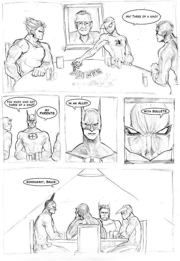 Spiderman, Daredevil, Wolverine und Batman beim Pokern