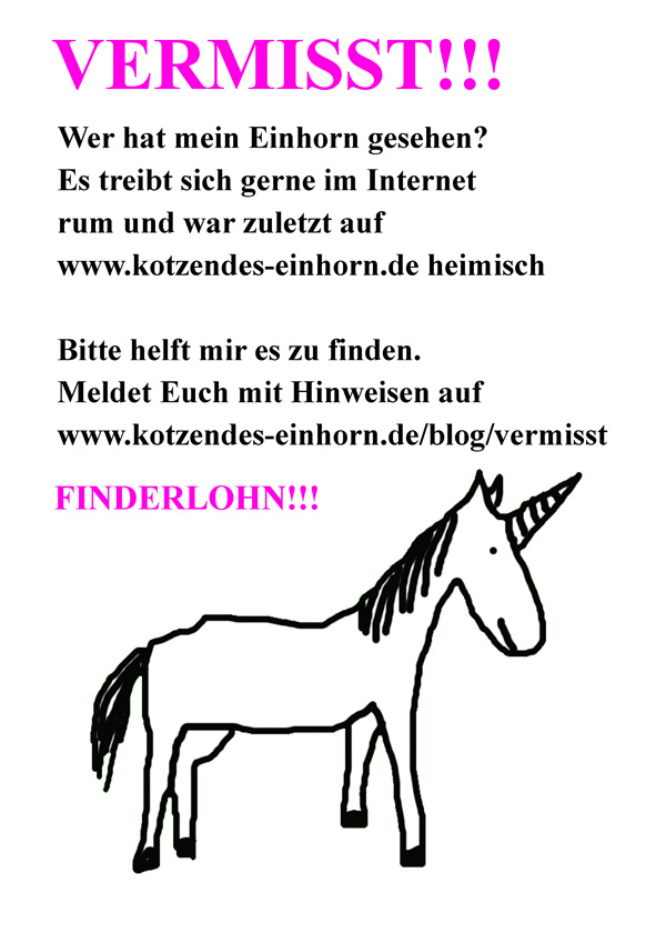 Geburtstag Da Einhorn Weg Finderlohn Kotzendes Einhorn