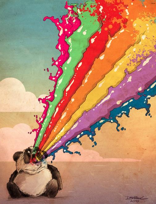 Regenbogen kotzender Panda
