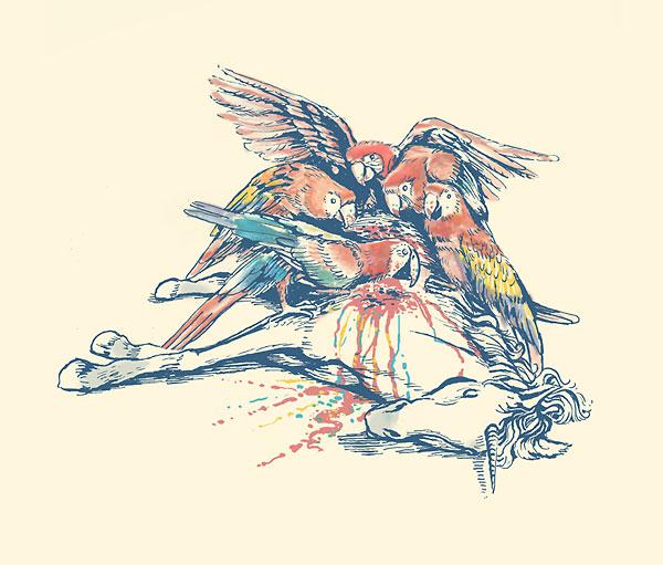 Papageien entweiden Einhorn
