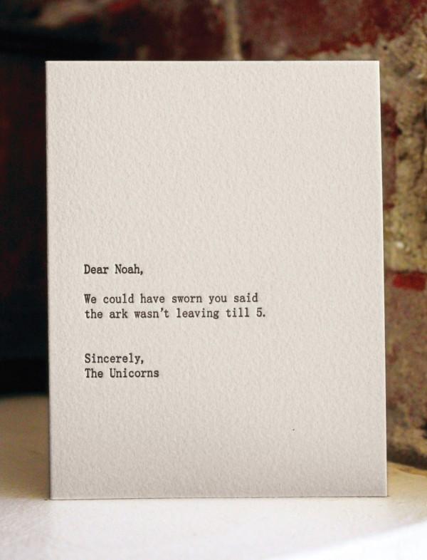 Dear Noah, The Unicorns