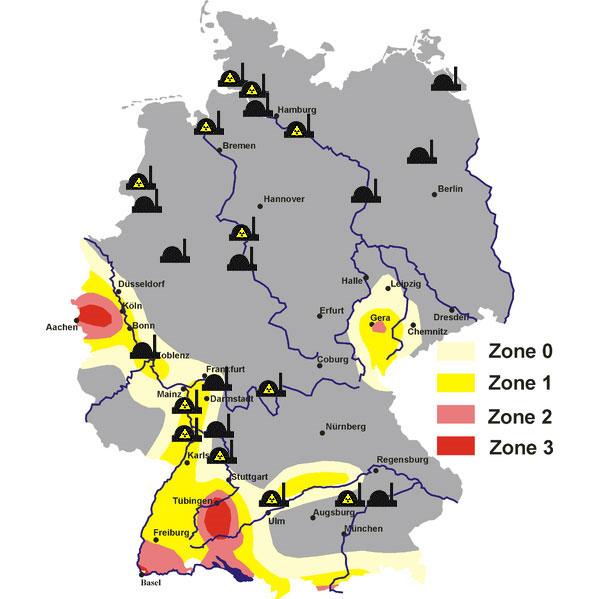 Erdbebengebiete und AKWs in Deutschland