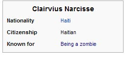 Known for being a zombie
