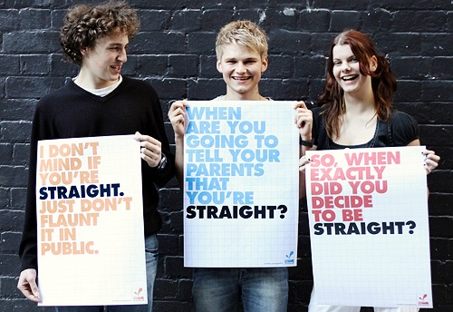 I don't mind if you're straight. Just don't flaunt it in public. When are you going to tell your parents that you're straight? So, when exactly did you decide to be straight?