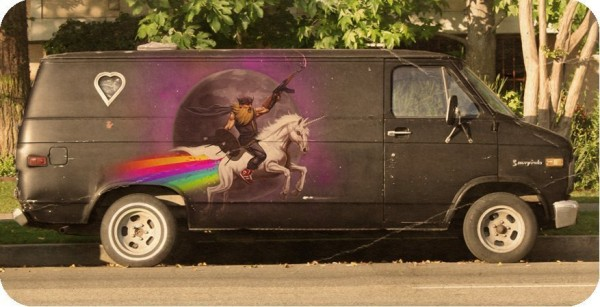 Viking on an unicorn on a A-Team van