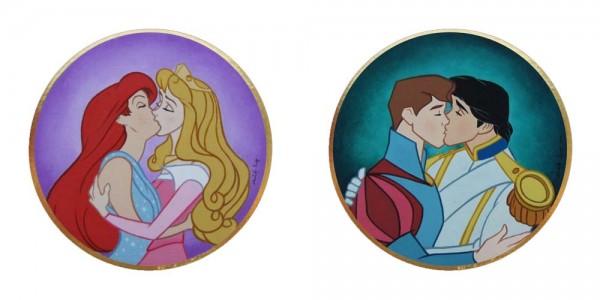 Disney Princes & Princesses kissing