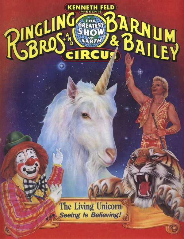 Das Einhorn Lancelot durfte man dann später im Zirkus begaffen