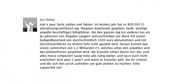 Jan Delay zum Thema illegale Downloads