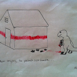 T-Rex trying to paint his house.