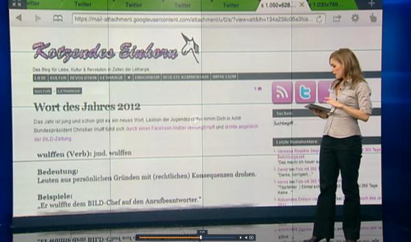 Kotzendes Einhorn im TV