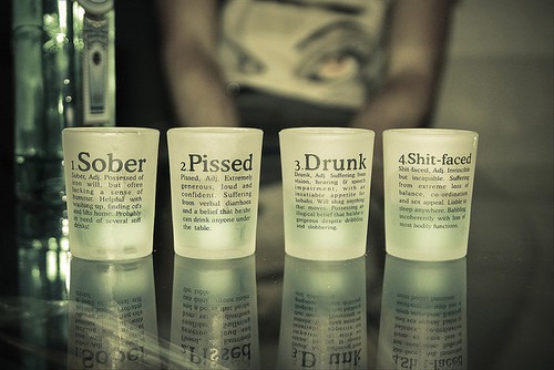 Sober,  Pissed, Drunk, Shit-Faced Shot Glasses