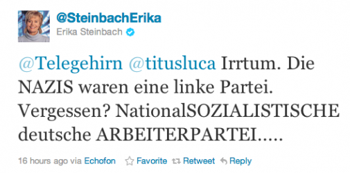 Erika Steinbach bezeichnet auf Twitter Nazis als Links