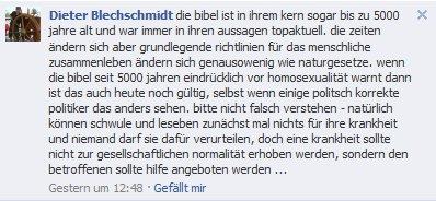 Facebook Kommentar von Dieter Blechschmidt