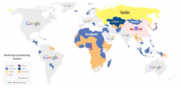 Worldmap of dominating websites