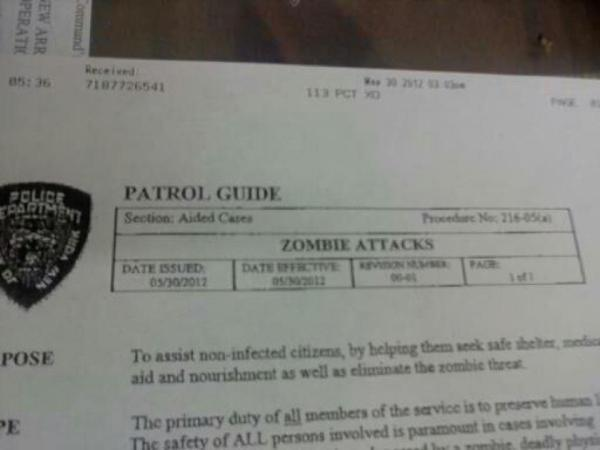 NYPD Patrol Guide for Zombie Attacks