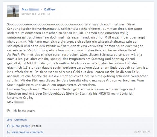 Der Galileo Diss auf Facebook
