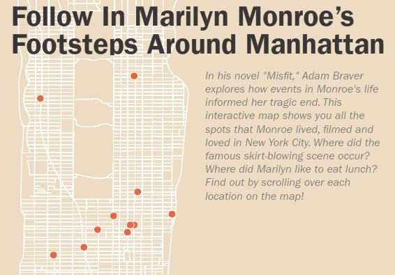 Marilyn Monroe's New York: Map Illustrates Beloved Actress' City