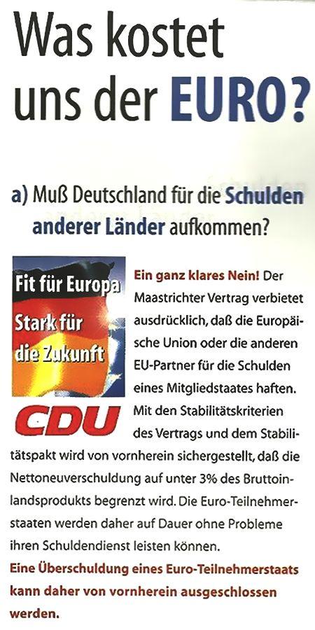 Was kostet uns der Euro? Die CDU beantwortet diese Frage.