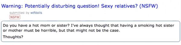 Frage auf Reddit - die scharfe Schwester