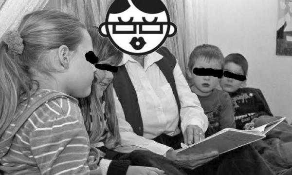 Die Schinken Omi liest Kindern vor