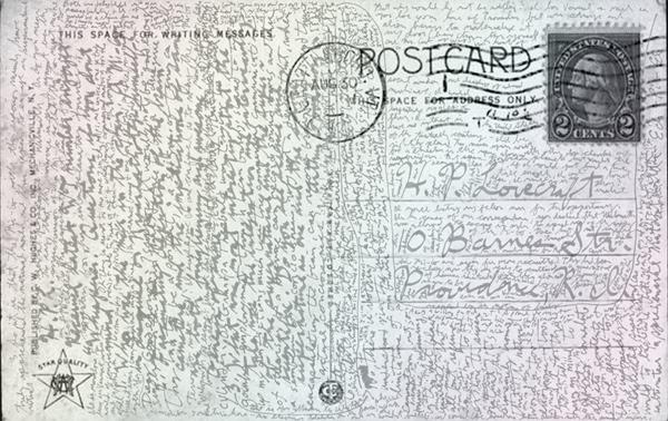 Interview auf einer Postkarte mit H.P. Lovecraft