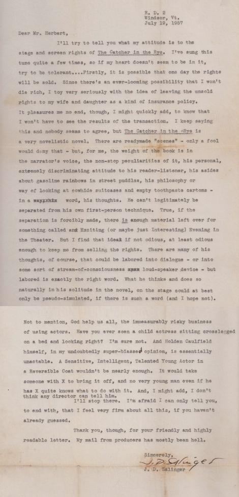 Brief von J.D. Salinger