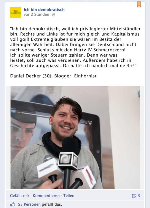 Daniel ist kein Extremist, ehrlich nicht!