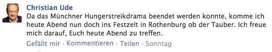 Christian Ude auf Facebook