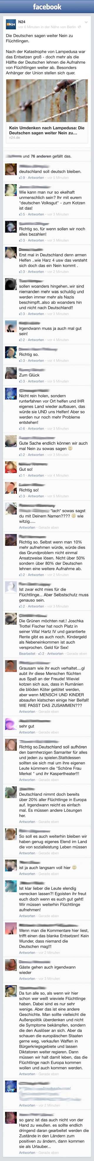 Rassistische Kommentare auf Facebook
