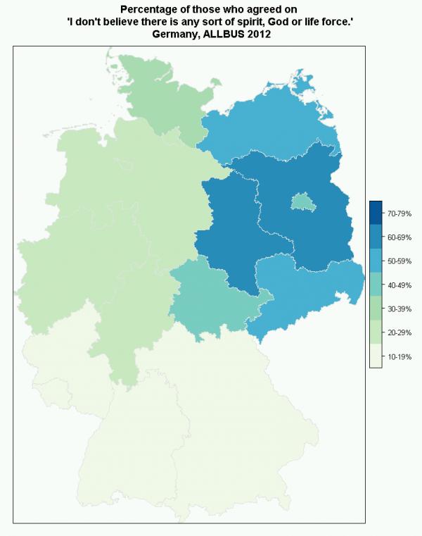 Atheismus Landkarte Deutschland