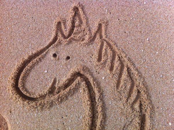 Einhorn im Sand