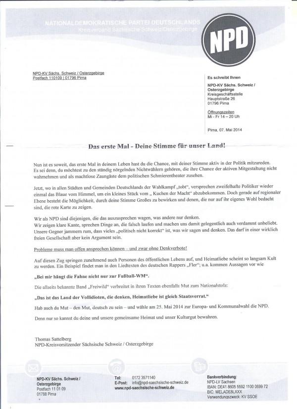 Brief der NPD mit Zitaten von Fler und Frei.Wild