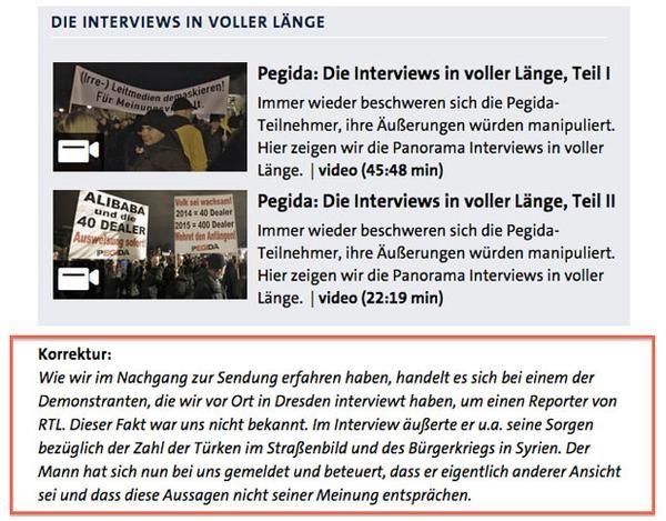 PEGIDA Korrektur von RTL-Reporter