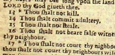 Die zehn Gebote in der Wicked Bible