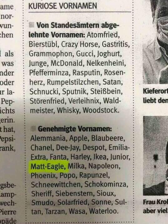 Kuriose Vornamen