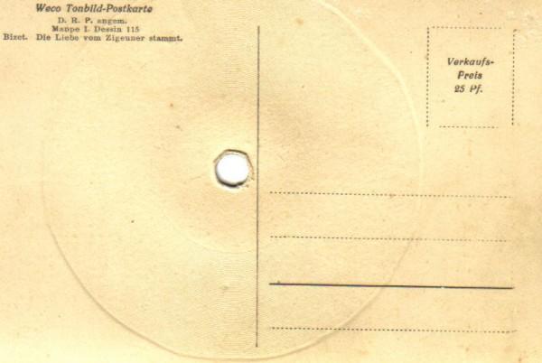 Rückseite einer Tonbild-Postkarte von Weco