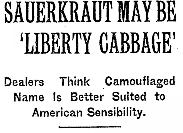 Sauerkraut is Liberty Cabbage