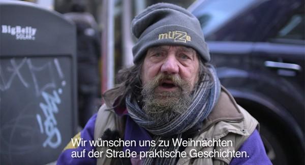 Weihnachtswünsche von Obdachlosen