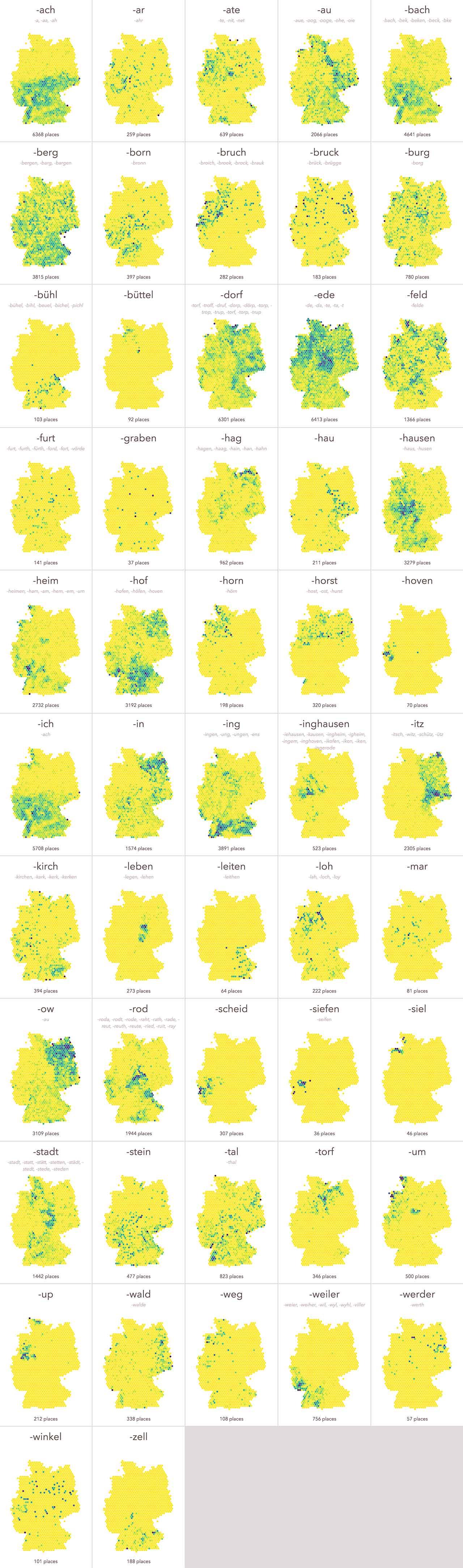 Die Endungen von Städtenamen in Deutschland