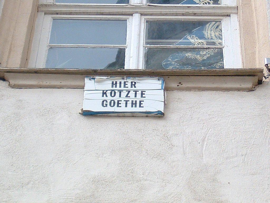 Hier kotzte Goethe, Gedenktafel in Tübingen