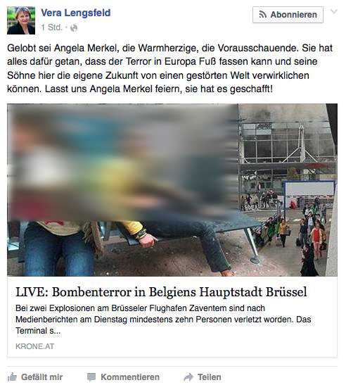 Hasskommentar Vera Lengsfeld