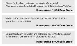 Kosten für Hasskommentare