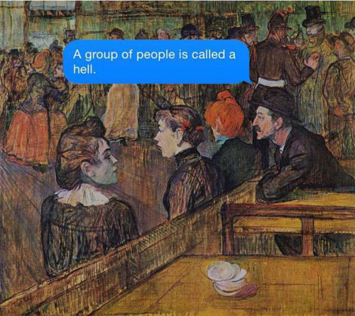 A group of people is called a hell.