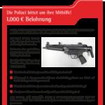 Verlorene Maschinenpistole - Polizei bittet um Mithilfe!