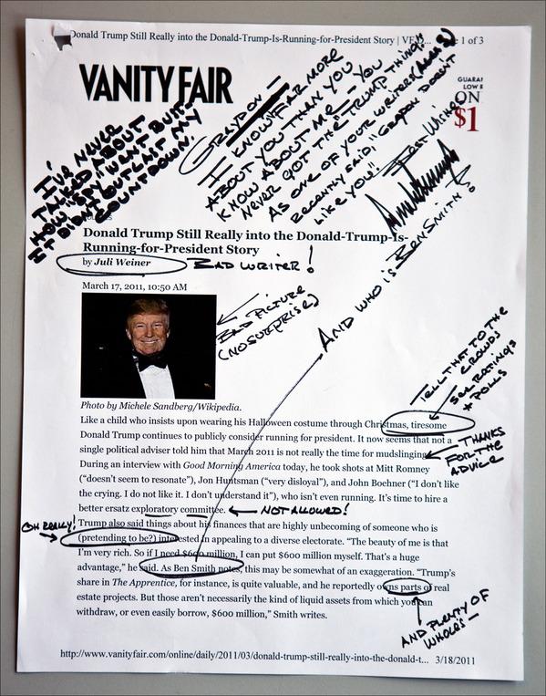 Trumps Handschrift