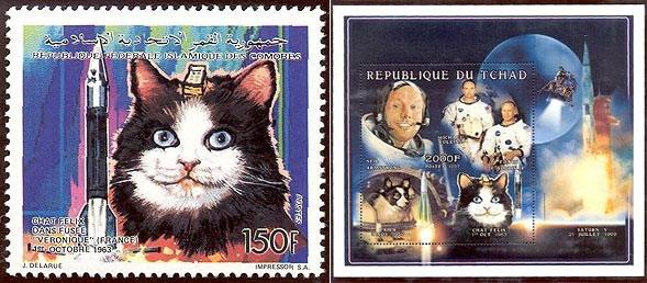 Felicette (hier irrtümlich als Felix bezeichnet) auf Briefmarken