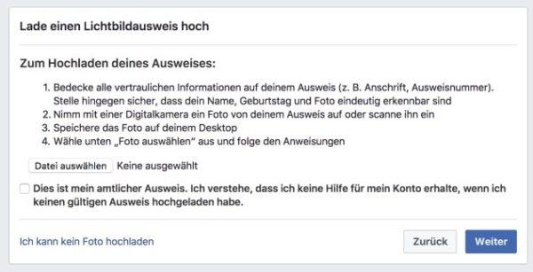 Facebook Ausweisüberprüfung für das Facebook-Fakeprofil